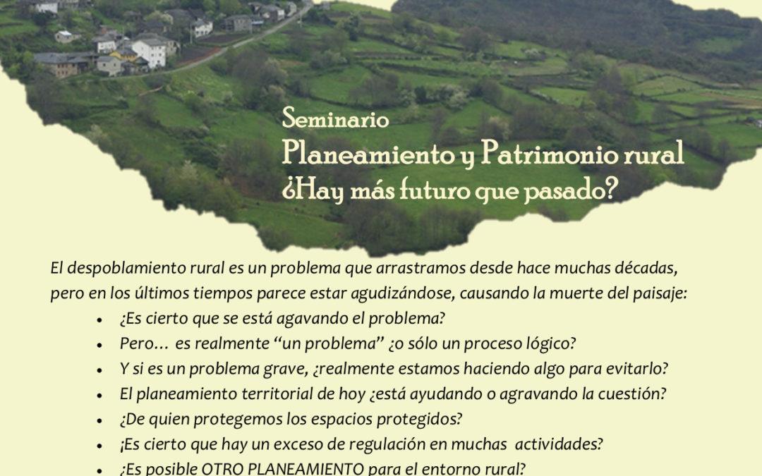 Patrimonio Rural y Planeamiento, martes 23 de Junio a las 18:00 (hora de España), seminario con Jaime Izquierdo Vallina, comisionado para el reto demográfico -organizado por Urbs et Ager e INCUNA