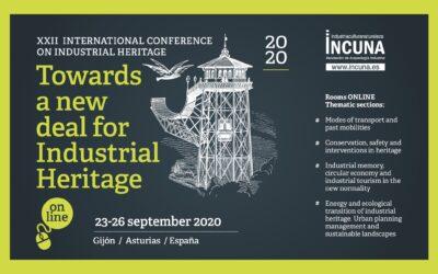 Programa con horarios de conferencias y relación de Ponentes en XXII Jornadas Internacionales de Patrimonio Industrial- INCUNA, Gijón 23 a 27 de septiembre 2020